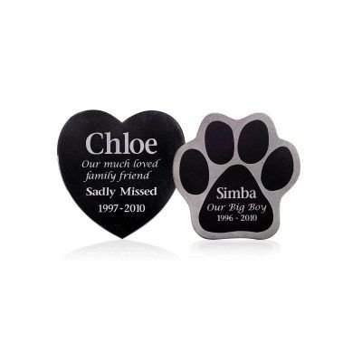 heart and paw shaped granite pet memorial plaques