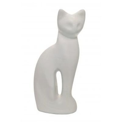 white gloss cat cremation urn