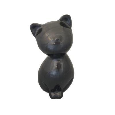 sitting cat urn charcoal