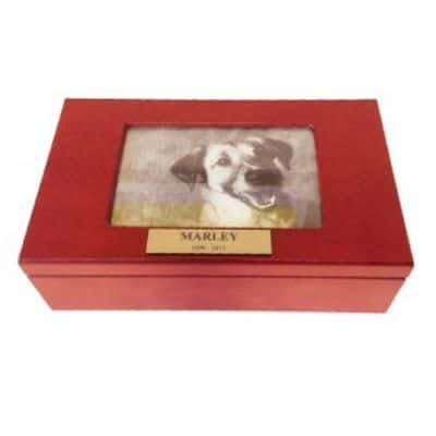 wooden pet cremation perth box with landscape photo